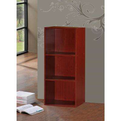 3-Shelf, 36 in. H Mahogany Bookcase