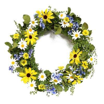 22 in. Wreath with Sunflower's and Daisy's