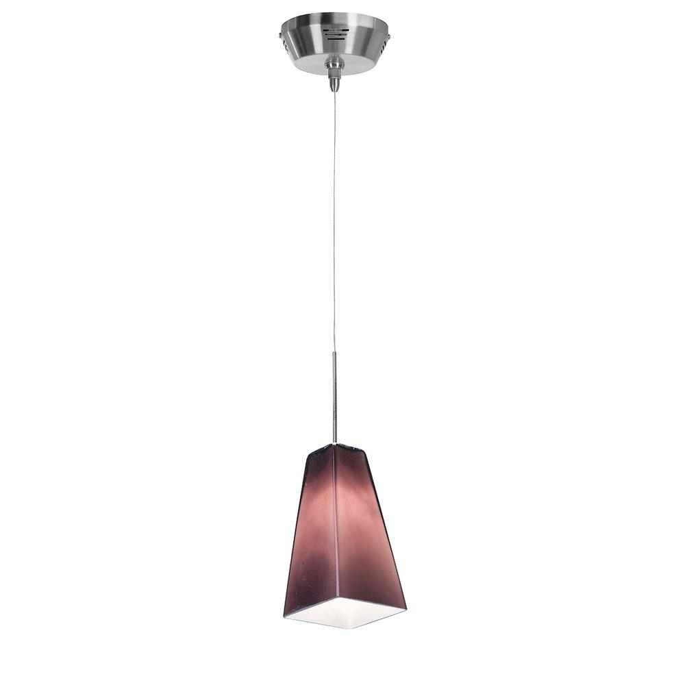 Access Lighting 1-Light Mini Pendant Brushed Steel FinishPlum Glass-DISCONTINUED