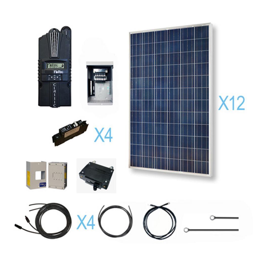 3600-Watt 48-Volt Polycrystalline Solar Cabin Kit for off-grid solar system