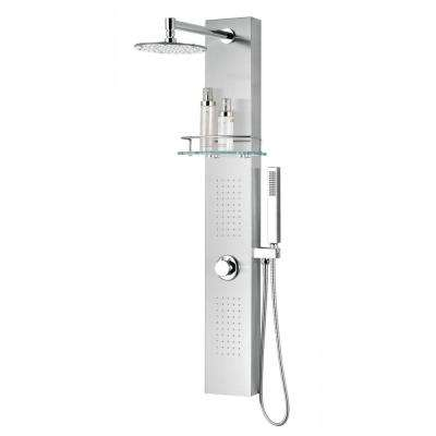 Coastal Series 44 in. Full Body Shower Panel System with Heavy Rain Shower and Spray Wand in Brushed Steel