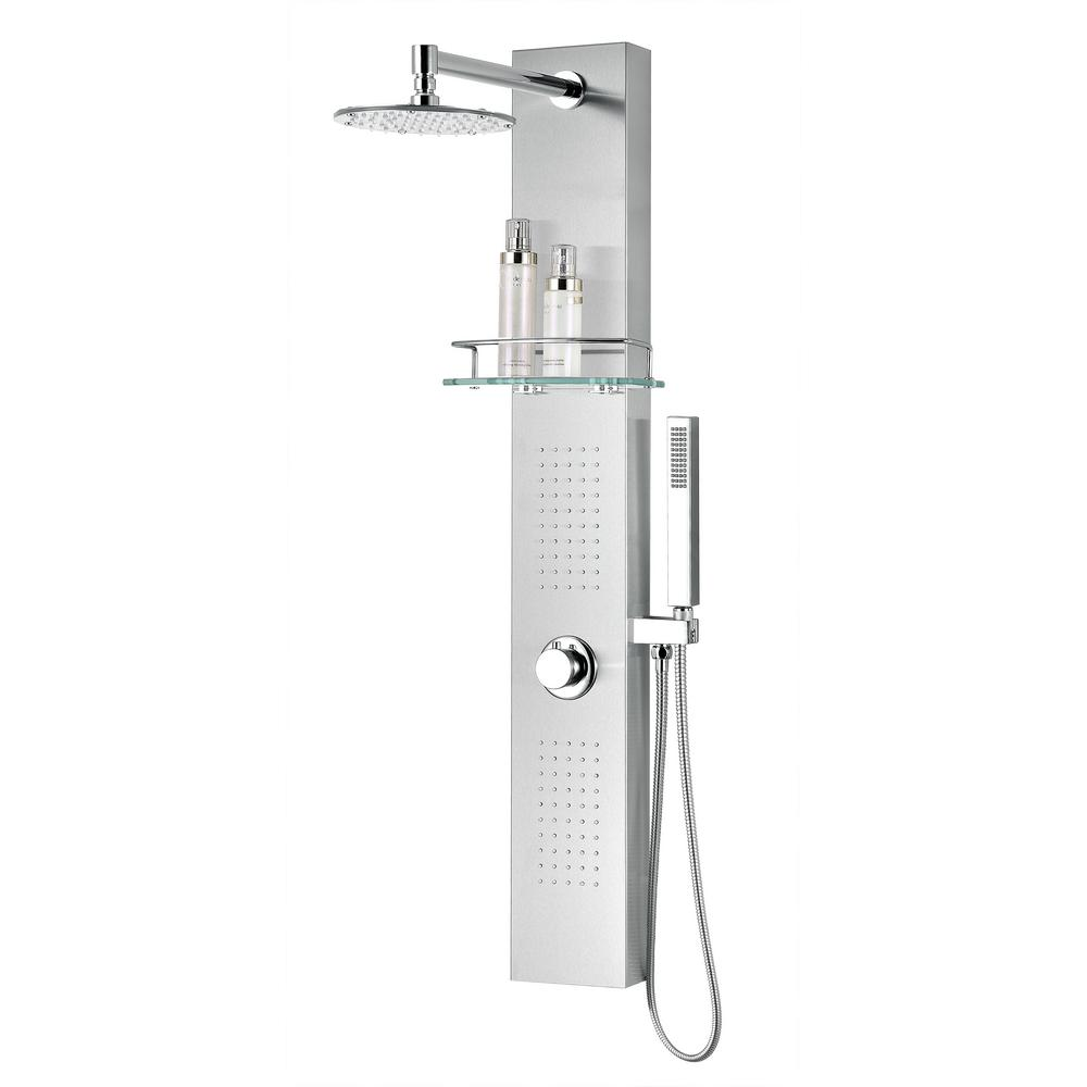 Anzzi Coastal Series 44 In Full Body Shower Panel System With Heavy Rain And Spray Wand Brushed Steel