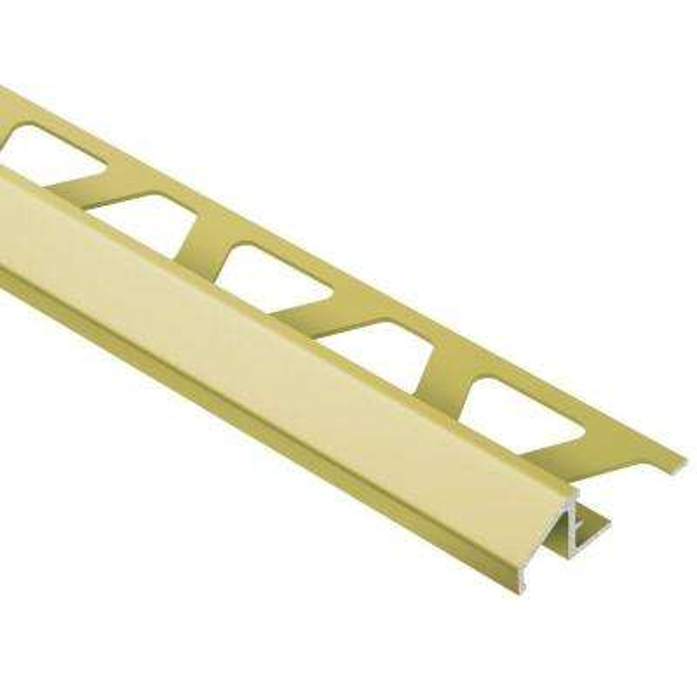 Reno-U Satin Brass Anodized Aluminum 3/8 in. x 8 ft. 2-1/2 in. Metal Reducer Tile Edging Trim