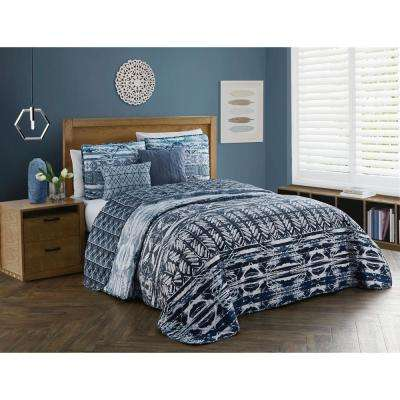 Tia 5-Piece Blue Queen Quilt Set