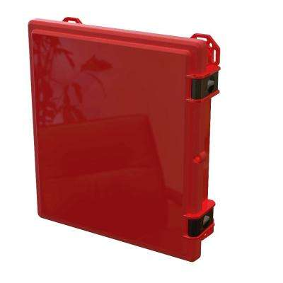 17.8 in. L x 16.3 in. W x 4 in. H Polycarbonate Red Hinged Latch Top Cabinet Enclosure with Red Bottom
