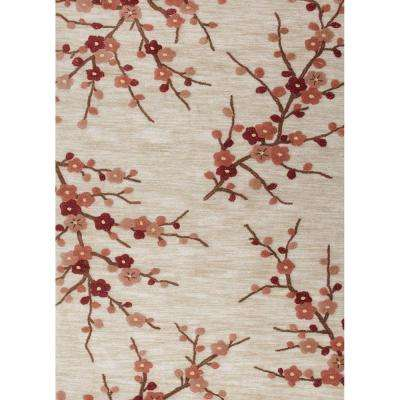 Hand-tufted poly White Asparagus 4 ft. x 6 ft. Floral Area Rug