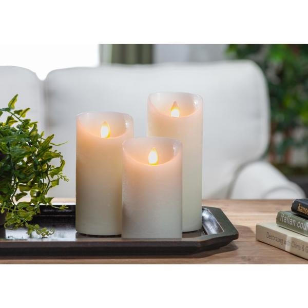 Bisque Pillar Candles (Set of 3)