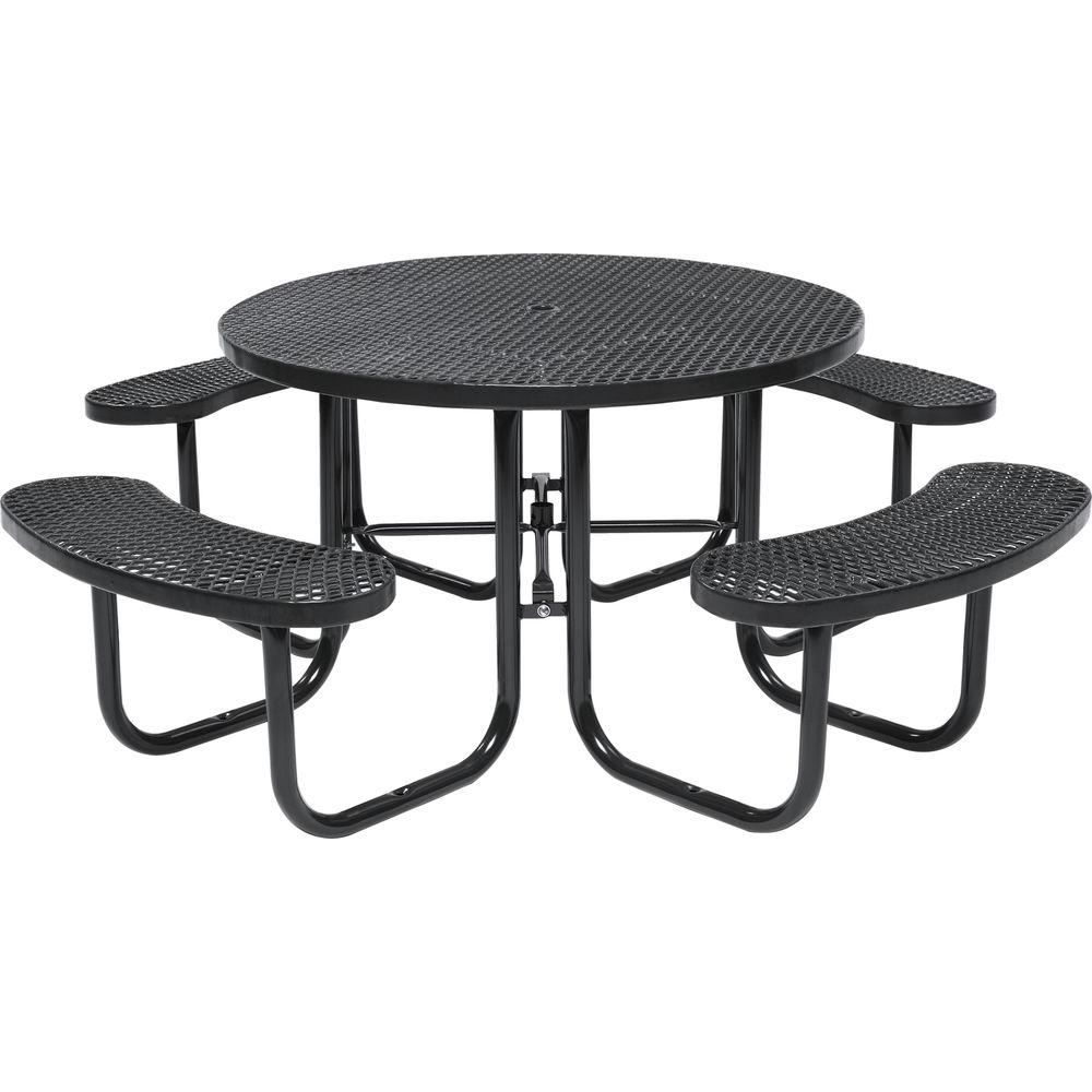 Tradewinds Park 46 in. Brown Commercial Round Picnic Table