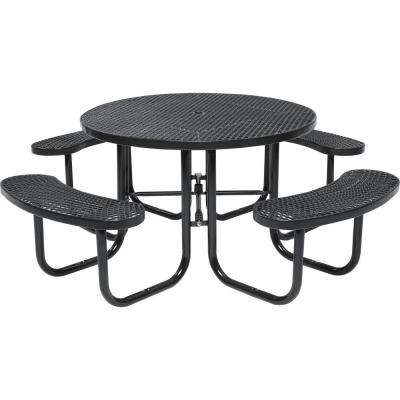 Park 46 in. Brown Commercial Round Picnic Table