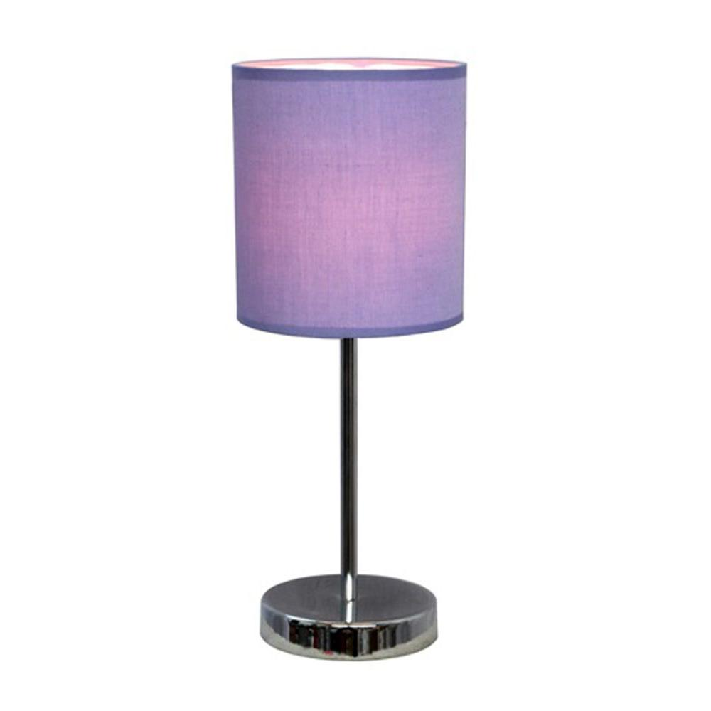 Simple Designs 11.89 in. Chrome Mini Basic Table Lamp with Purple Fabric Shade