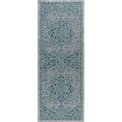 Veranda Aqua 3 ft. x 7 ft. Indoor/Outdoor Runner Rug