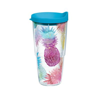 Watercolor Pineapples 24 oz. Double Walled Insulated Tumbler with Travel Lid