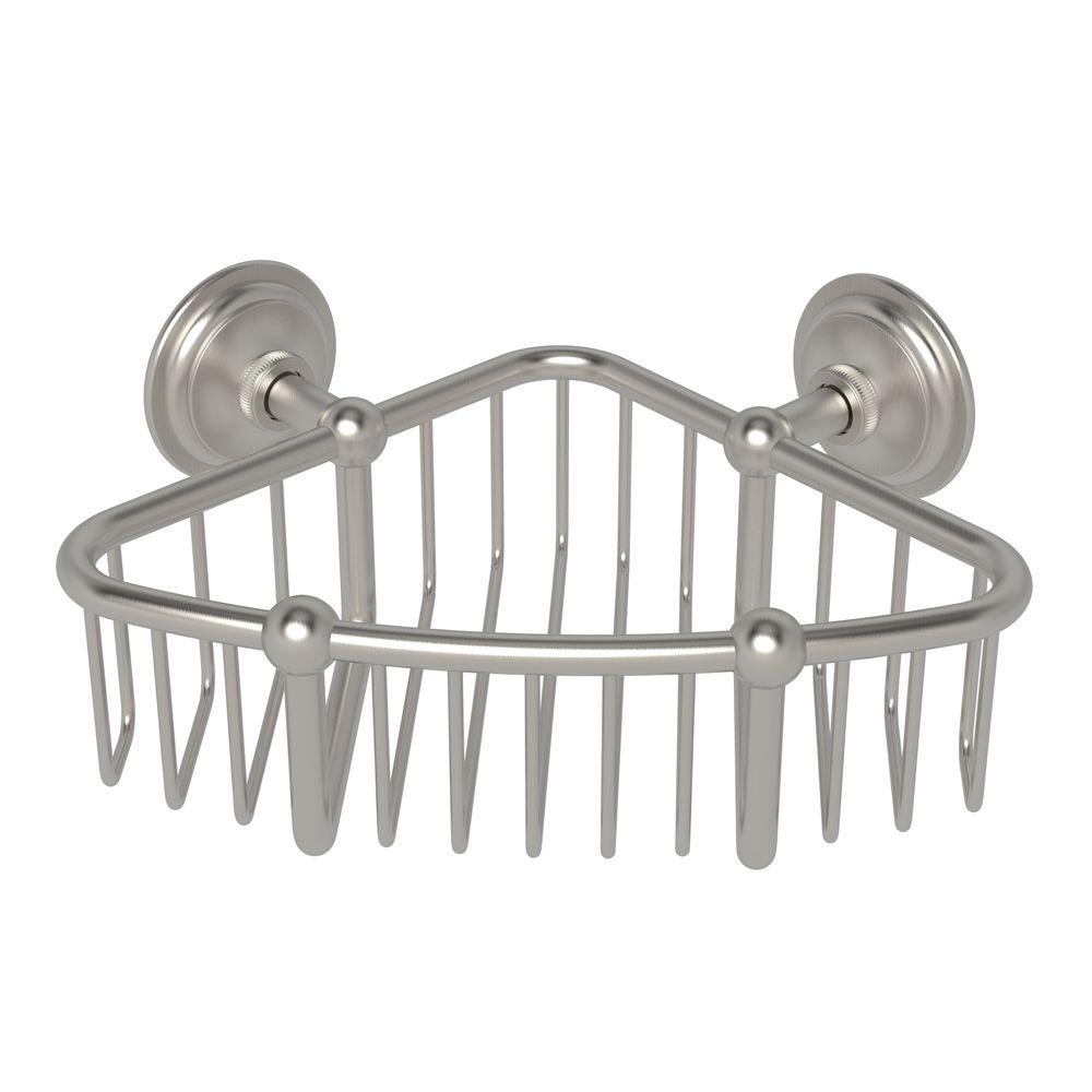 London Terrace 6 in. Corner Basket in Satin Nickel