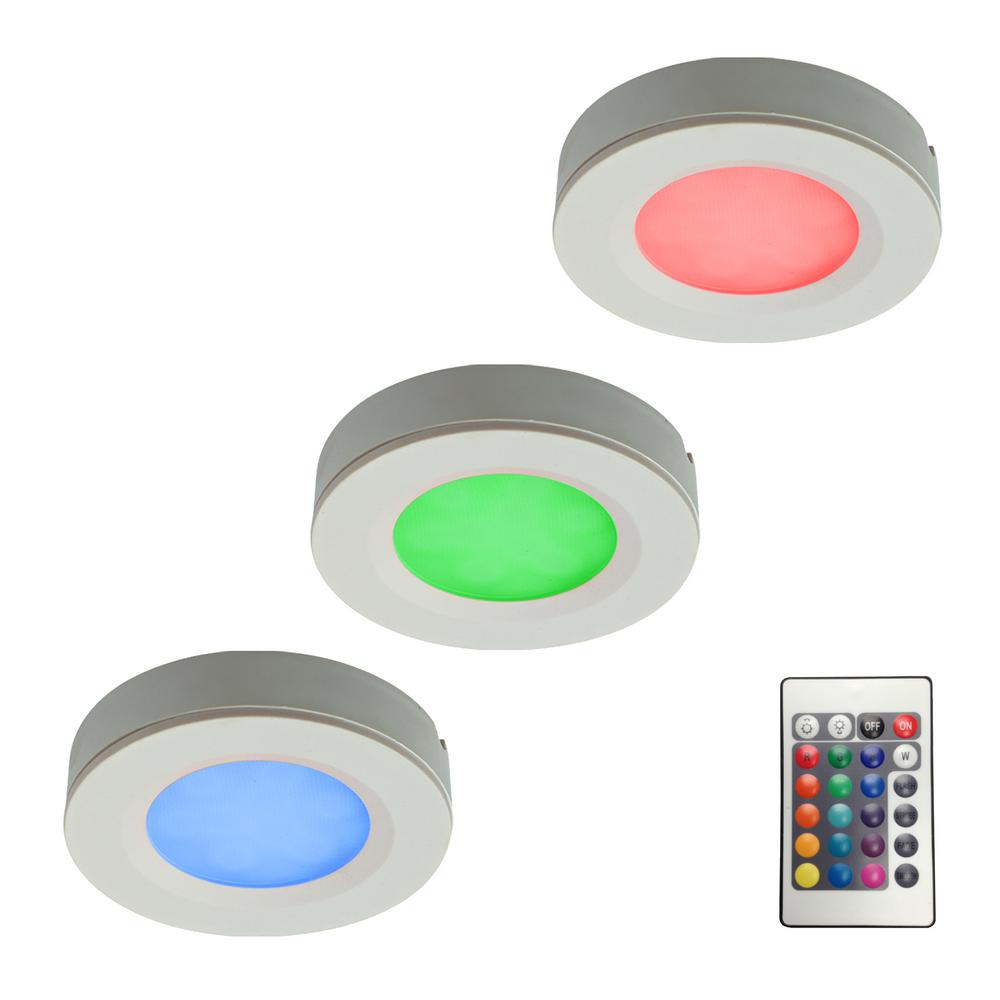 RGB LED Pucks Light Kit with Plug-In Driver and Remote Controller