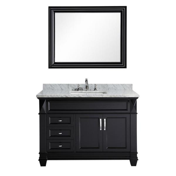 Hudson 48 in. W x 22 in. D Vanity in Espresso with Marble Vanity Top in White with White Basin and Mirror