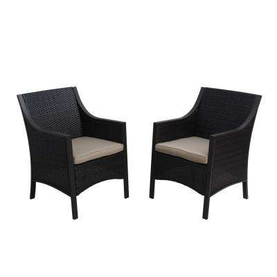 Reid MultiBrown Wicker Outdoor Dining Chair with Tan Cushion (2-Pack)