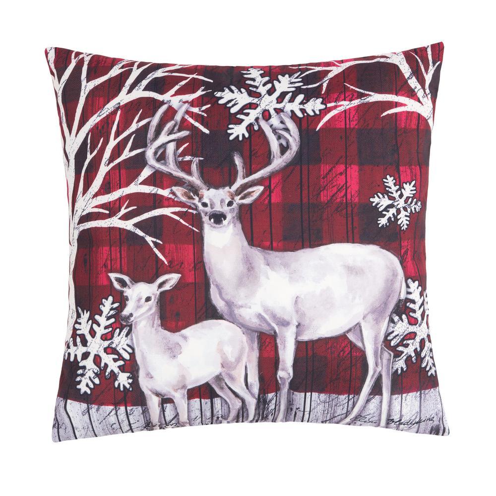 Winter Forest Deer Indoor/Outdoor Red Standard Pillow