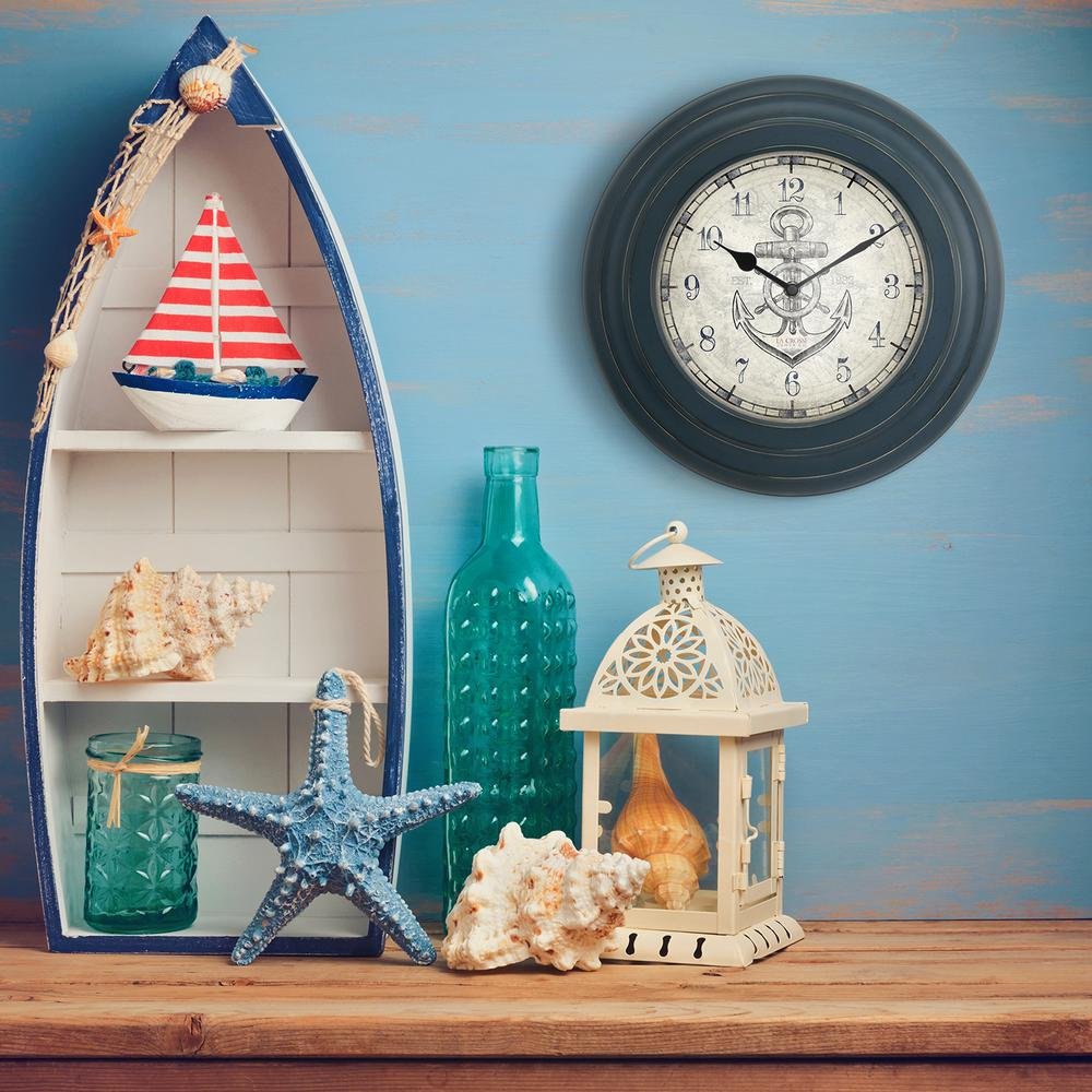 14 in. Distressed Blue Metal Quartz Wall Clock with Anchor Dial