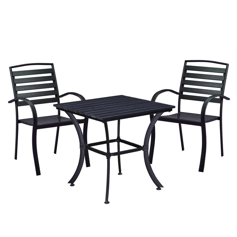 Modern Contemporary Black 3-Piece Metal Square Outdoor Dining Set