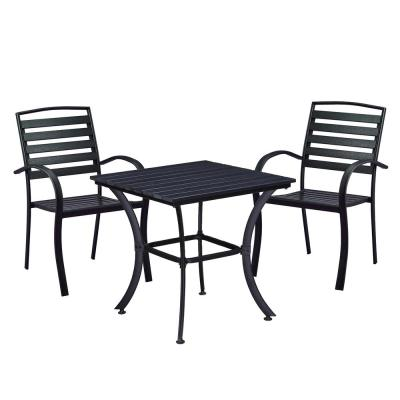 Modern Contemporary Black 3-Piece Metal Square Outdoor Dining Set