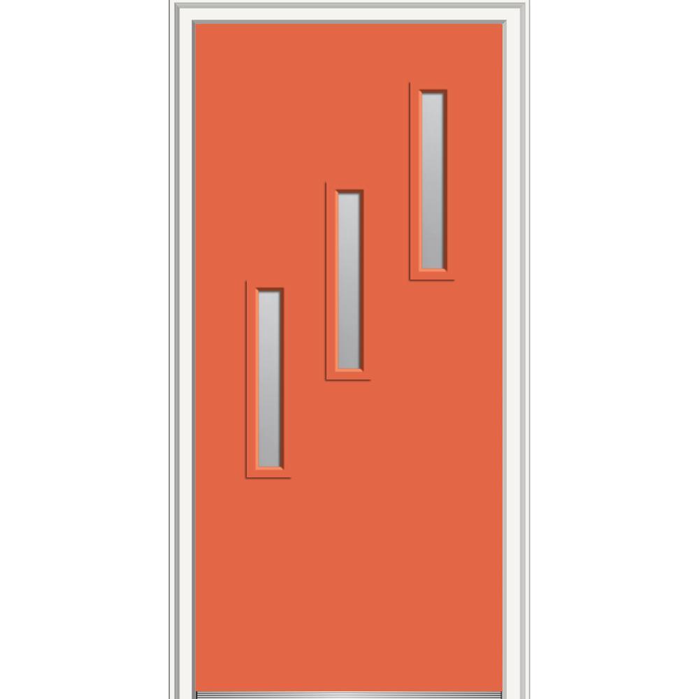 30 in. x 80 in. Davina Left-Hand Inswing 3-Lite Frosted  sc 1 st  The Home Depot & Left-Hand/Inswing - Orange - 30 x 80 - Front Doors - Exterior Doors ...
