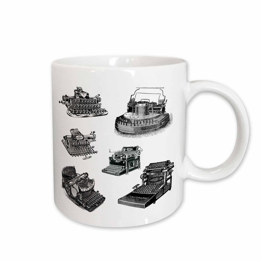 Tnmpastperfect Vintage Technology Several Old Typewriters Artwork 11 oz. White Ceramic Coffee Mug Why drink out of an ordinary mug when a custom printed mug is so much cooler. This ceramic mug is lead free, microwave safe and FDA approved. Image is printed on both sides. Hand washing is recommended. Color: White.