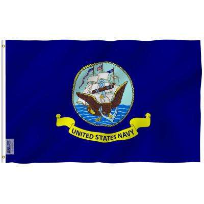 Fly Breeze 3 ft. x 5 ft. Polyester US Navy Flag 2-Sided Flag Banner with Brass Grommets and Canvas Header