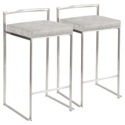 Fuji 26 in. Stainless Steel Stackable Counter Stool with Light Grey Cowboy Fabric Cushion (Set of 2)