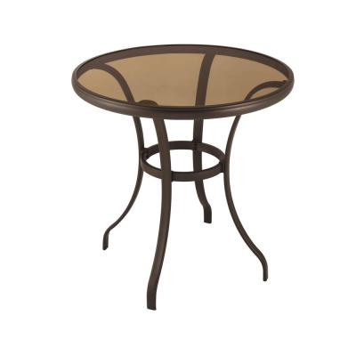 28 in. Mix and Match Round Steel Outdoor Patio Bistro Table with Glass Top