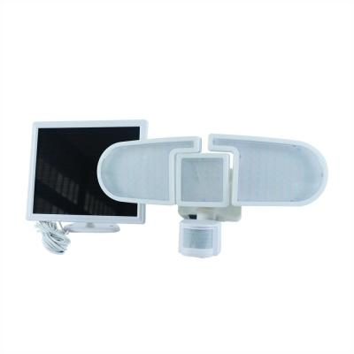 205 White Triple Head Solar Motion Activated Outdoor Integrated LED Security Flood Light