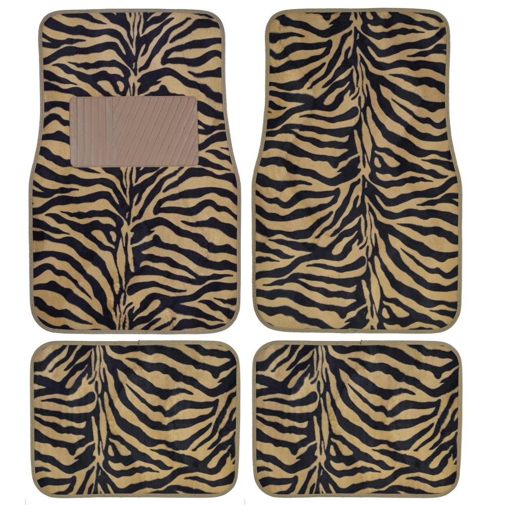 Zebra Print MT-902 Beige Animal Print 4-Piece Carpet Car Floor Mats
