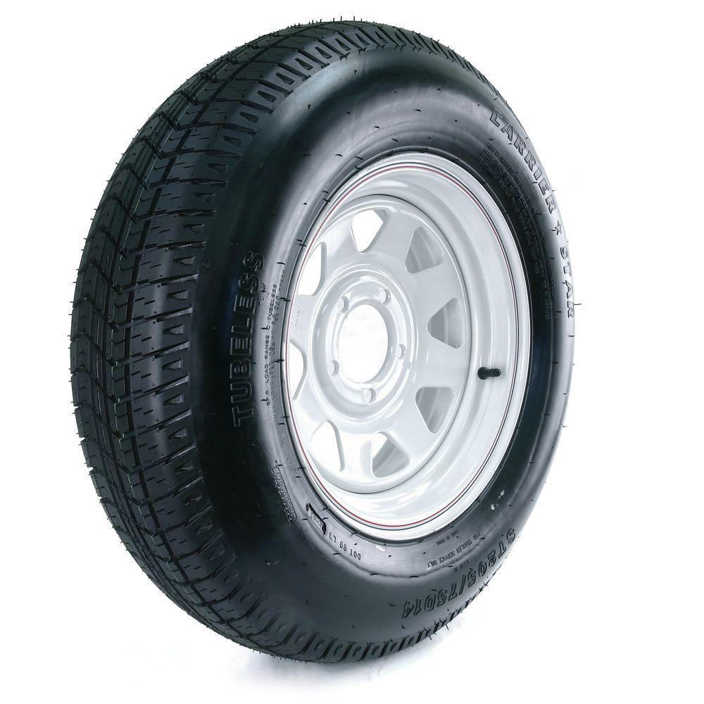 Kenda 205/75D-14 Load Range C 5-Hole Custom Spoke Trailer Tire and Wheel Assembly
