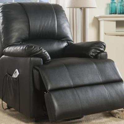 Ixora Black Leatherette Recliner with Power Lift and Massage