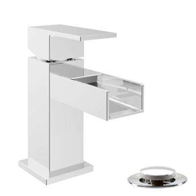 Quadrato Single Hole Single-Handle Waterfall Bathroom Faucet with Drain Assembly in Polished Chrome