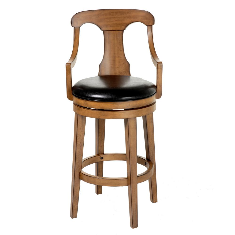 Fashion Bed Group Albany 30 In Black Swivel Upholstered Bar Stool