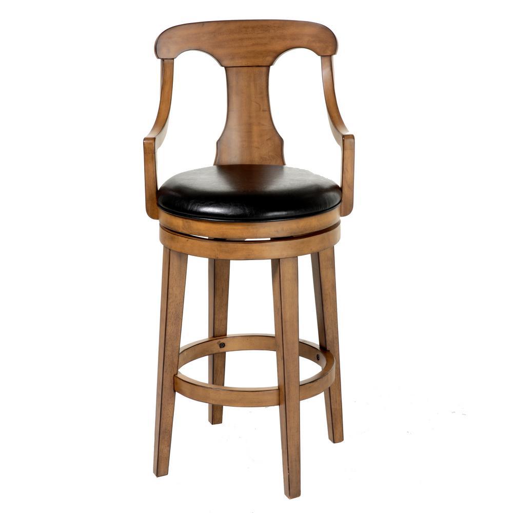 Black swivel upholstered bar stool with acorn frame