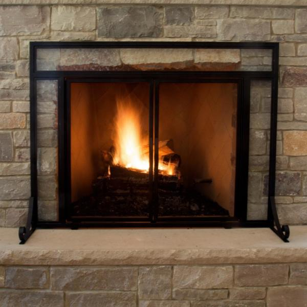 Pleasant Hearth Manchester Large Size Black Steel And Glass Single Panel Fireplace Screen With Doors Fa183s L The Home Depot