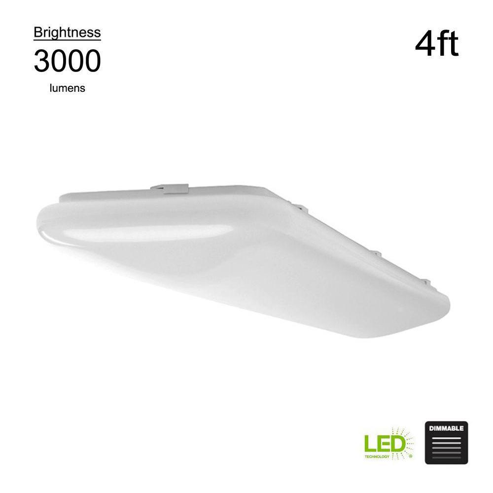 Hampton Bay 4 ft. x 1 ft White Rectangular Traditional Integrated LED Flush Mount Puff LIght 4000K Bright White 3000 Lumens Dimmable