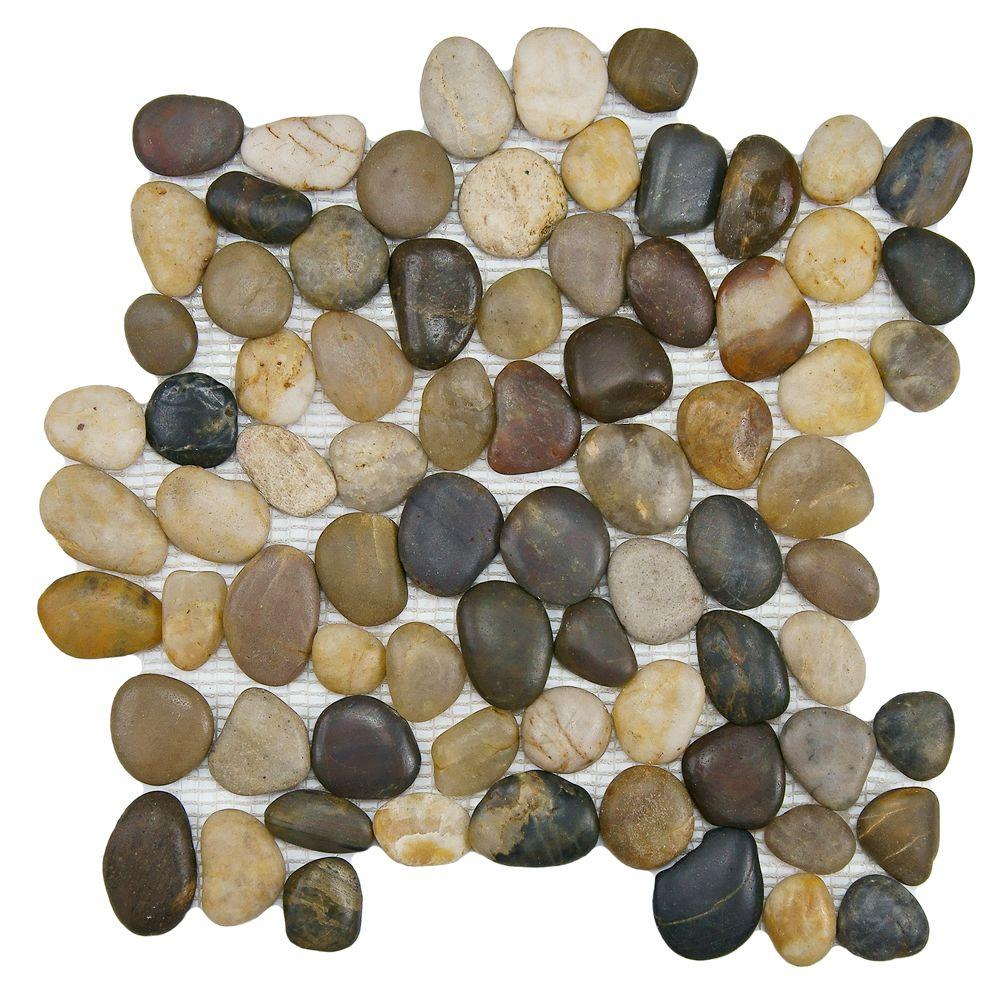 Merola Tile Riverstone Multi 11-3/4 in. x 11-3/4 in. x 12 mm Natural ...