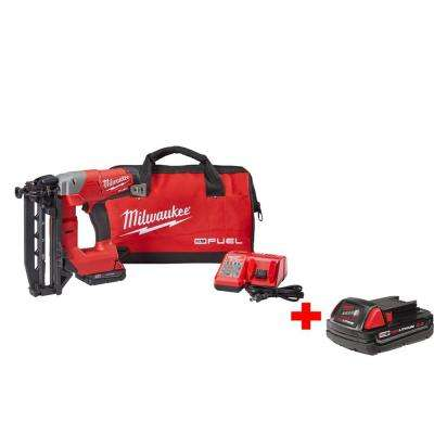 M18 FUEL 18-Volt Lithium-Ion Cordless Brushless 16-Gauge Straight Finish Nailer Kit with Free M18 2.0Ah Battery