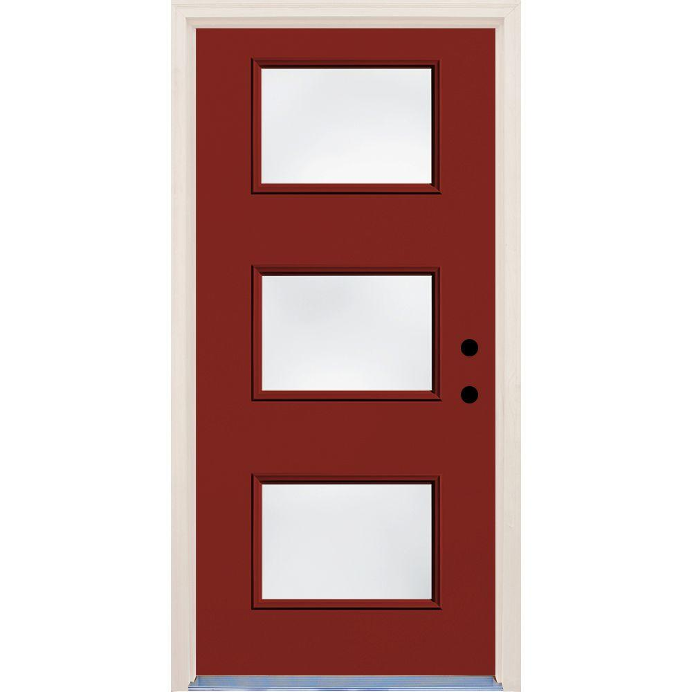 Builders Choice 36 in. x 80 in. Cordovan Left-Hand 3 Lite Clear Glass Painted Fiberglass Prehung Front Door with Brickmould