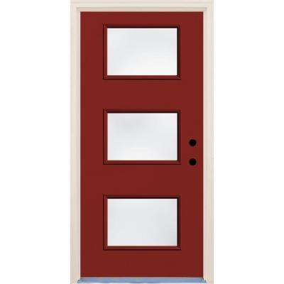 36 in. x 80 in. Cordovan Left-Hand 3 Lite Clear Glass Painted Fiberglass Prehung Front Door with Brickmould