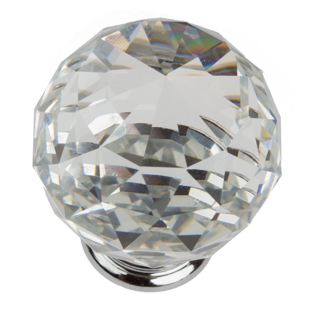 Bon Clear Large K9 Crystal With Polished Chrome Base