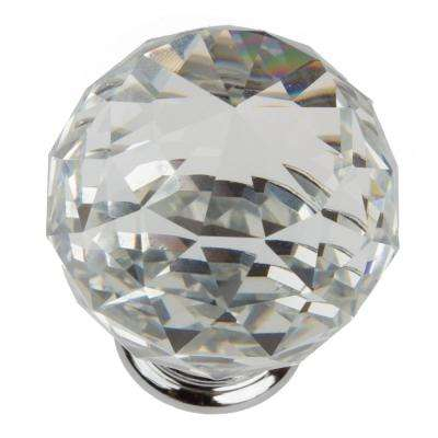 1-5/8 in. Clear Large K9 Crystal with Polished Chrome Base Cabinet Knob (10-Pack)