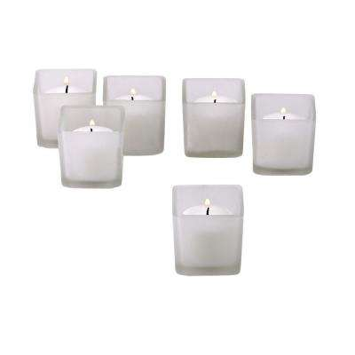 White Frosted Square Votive Candle Holders with White Votive Candles (Set of 12)