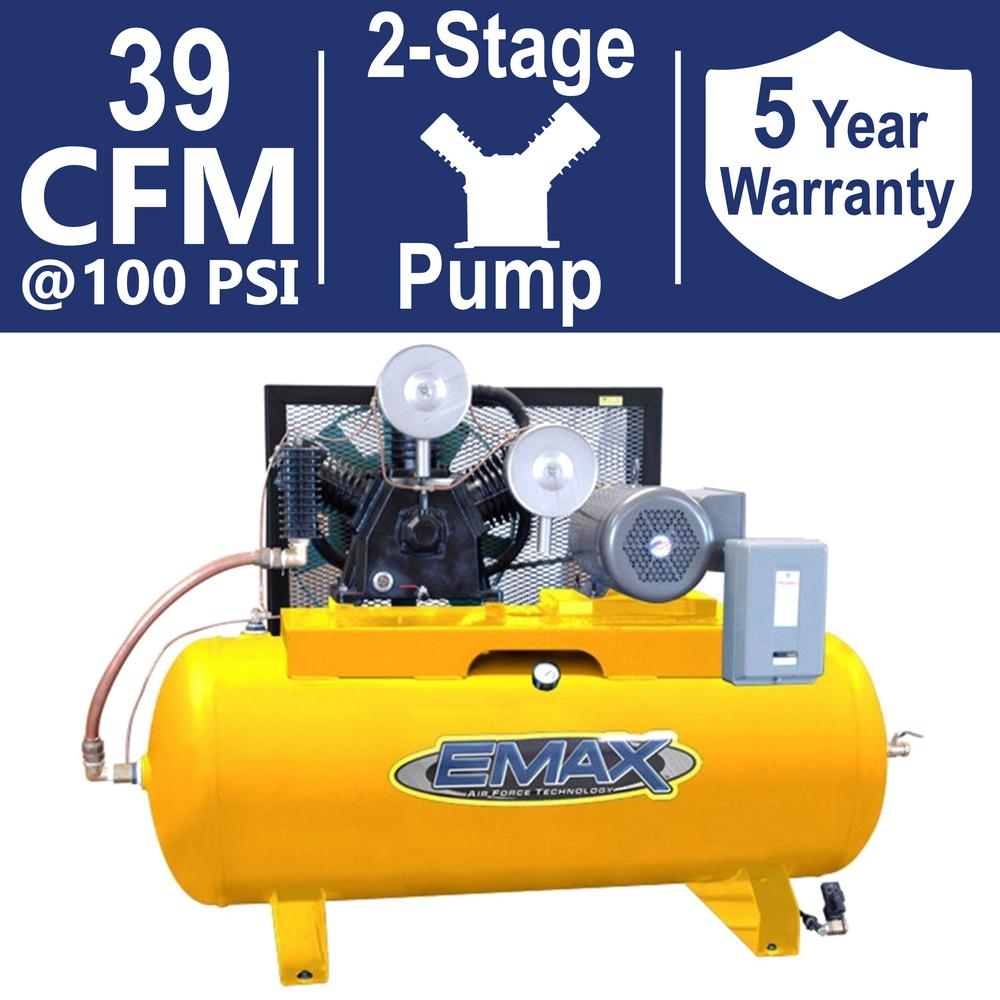 EMAX Industrial PLUS Series 120 Gal. 10 HP 1-Phase 2-Stage Horizontal Stationary Electric Air Compressor