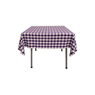 52 in. x 52 in. White and Purple Polyester Gingham Checkered Square Tablecloth