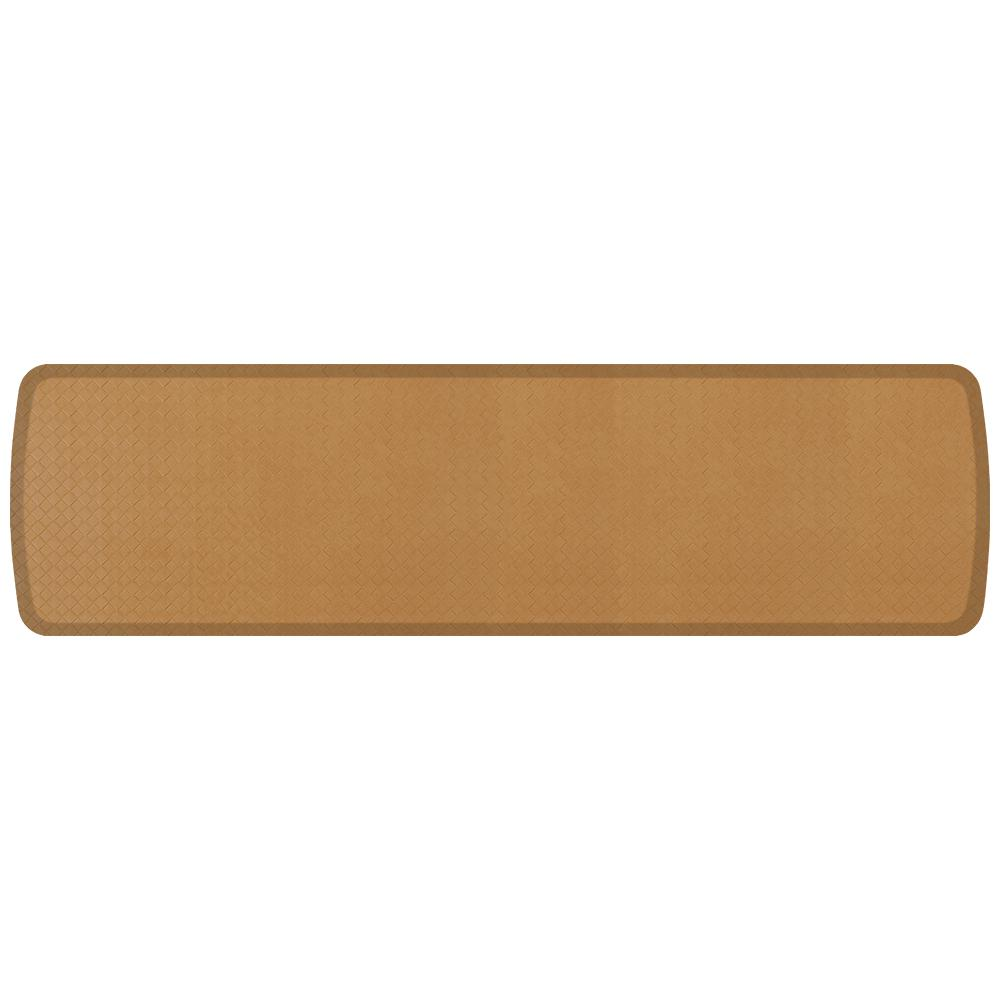 Elite Basketweave Khaki 20 in. x 72 in. Comfort Kitchen Mat