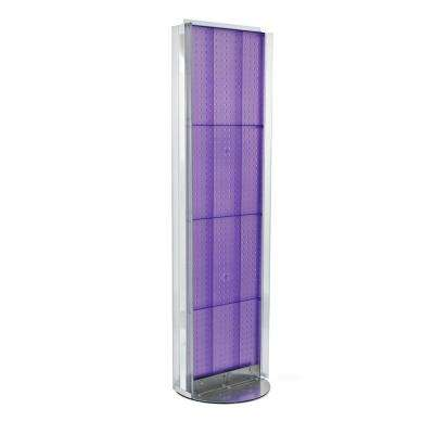 60 in. H x 16 in. W Pegboard Floor Display in Purple with C-Channel Sides on a Revolving Base