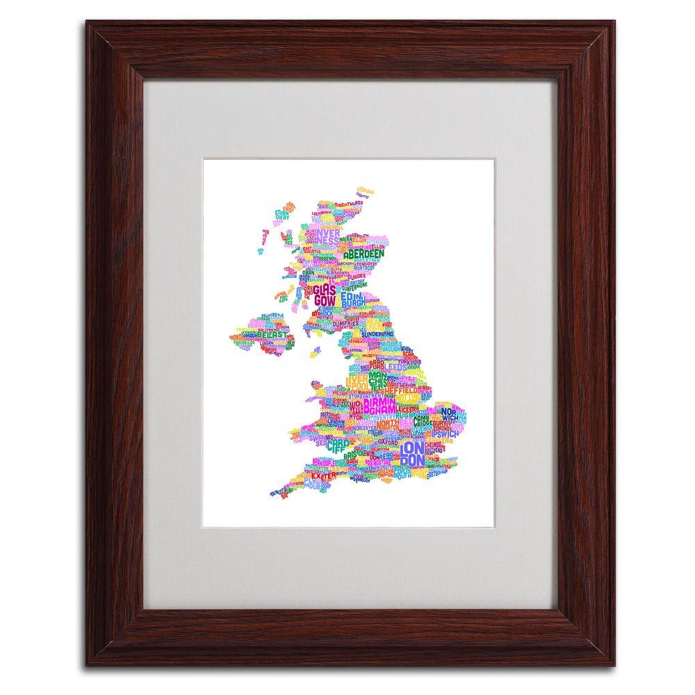 11 in. x 14 in. UK Cities Text Map 3 Matted